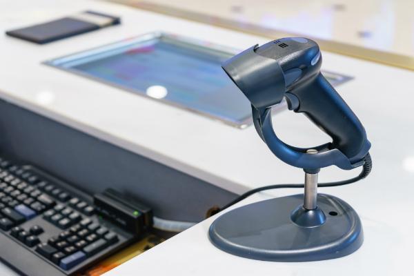Kasse mit Barcode Scanner